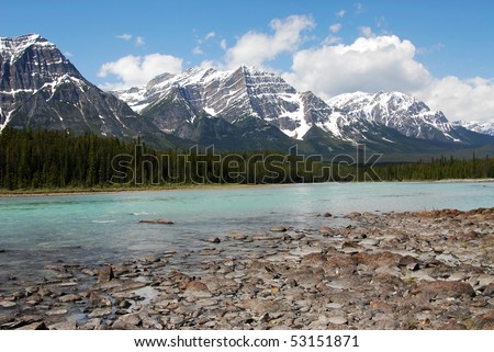 Summer view of rocky mountains and riverbank in jasper national park, alberta, canada - stock photo