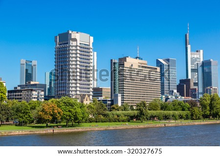 Summer view of the financial district in Frankfurt, Germany
