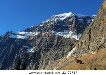 Summer view of the mountain edith cavell and glacier, jasper national park, alberta, canada - stock photo
