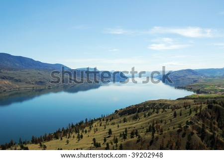 Summer view of the thompson river valley along the highway 1, british columbia, canada - stock photo