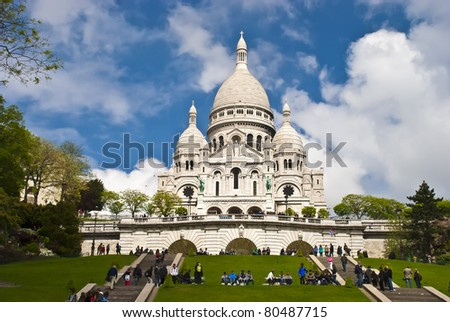 Summer view on basilica of the Sacred Heart of Jesus, Paris, France - stock photo