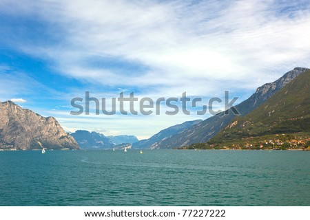 Summer View Over Lake Garda in Italy - stock photo