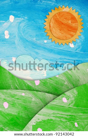 summer view paint brushes paper craft stick