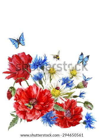 Summer Vintage Watercolor Greeting Card with Blooming Red Poppies Chamomile Ladybird and Daisies Cornflowers Bumblebee Bee and Blue Butterflies, Watercolor illustration on white background. - stock photo