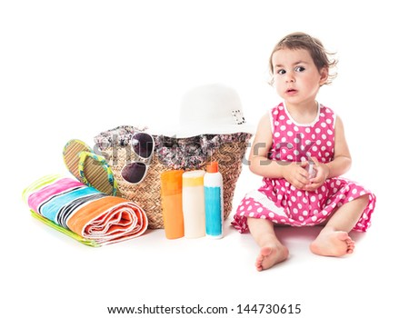 Summer voyage with children - accessories for vocations and toddler girl - stock photo