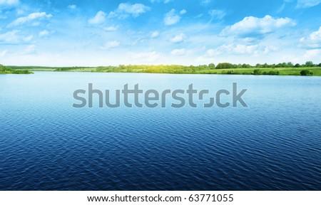 Summer water landscape. - stock photo