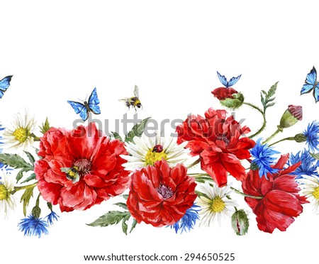 Summer Watercolor Vintage Floral Seamless Border with Blooming Red Poppies Chamomile Ladybird and Daisies Cornflowers Bumblebee Bee and Blue Butterflies, Watercolor illustration on white background. - stock photo