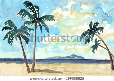 Summer watercolor with palms, se and sky painting illustration hand drawn artwork background textile pattern - stock photo
