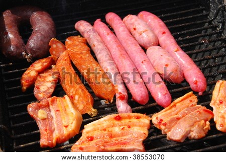 summer weekend with a delicious grilled fresh meat closeup - stock photo