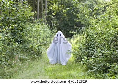 summer white ghost in forest
