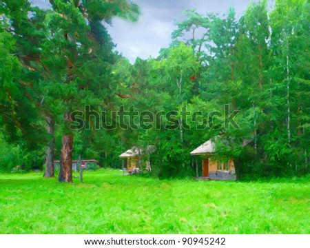 Summer wild landscape with houses - stock photo
