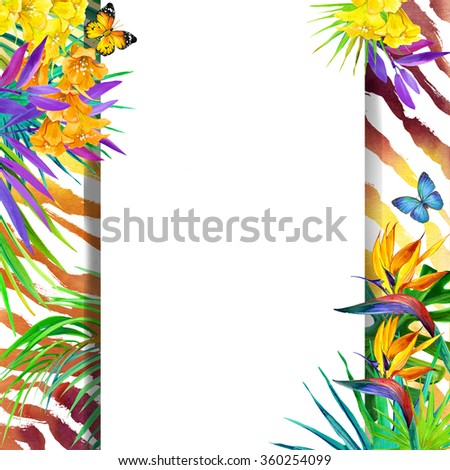 Summer wild tropical design. Watercolor tropical background with palm leaves, unusual flowers and butterfly on animal print background. Watercolor tropical nature. Tiger print background