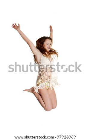 Summer woman jumping of joy excited. - stock photo