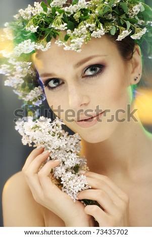 summer woman portrait - stock photo