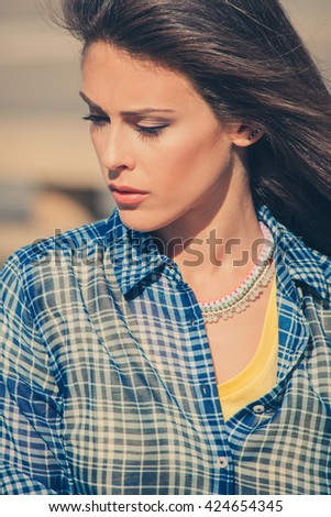summer woman portrait outdoor in the city closeup - stock photo