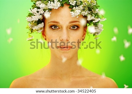 summer woman portrait with garland of flowers - stock photo