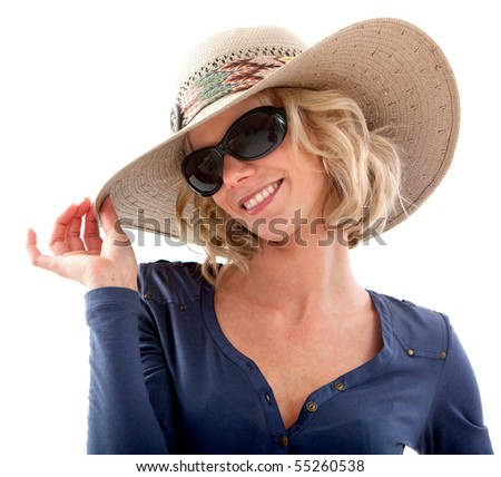 Summer woman wearing a hat and sunglasses  smiling ? isolated - stock photo
