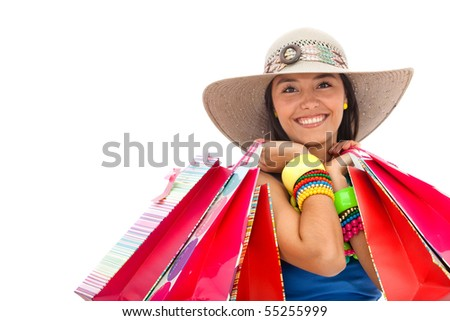 Summer woman with shopping bags - isolated over a white background - stock photo