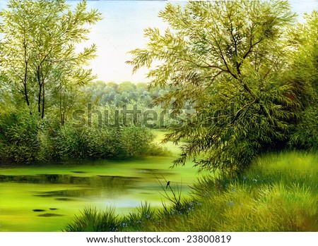 summer wood lake with trees and bushes - stock photo