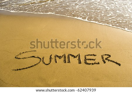 Summer, written in the sand - stock photo