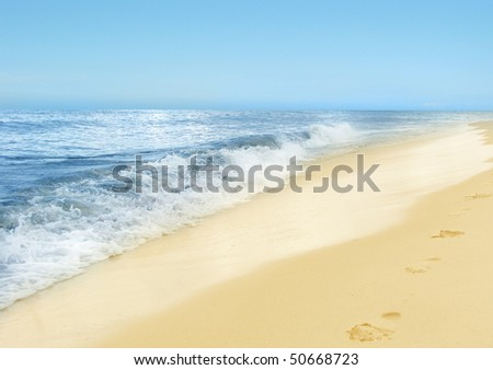 summertime at the beach - print of steps - stock photo