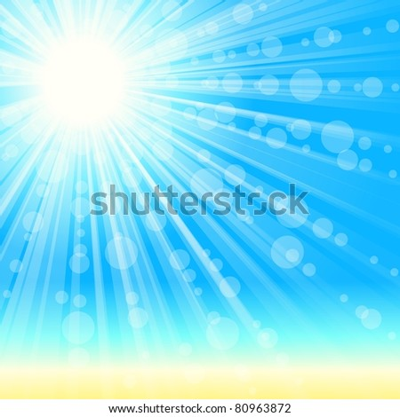 Summertime beach background (jpg); vector version also available - stock photo