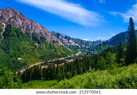 Summertime in Little Cottonwood Canyon in the Wasatch Range of the Rocky Mountains, Utah. - stock photo