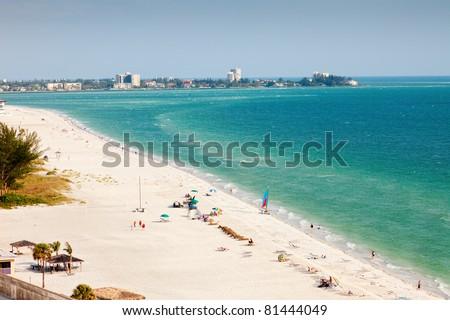 Summertime on Lido Beach in Siesta Key, Sarasota, Florida - stock photo