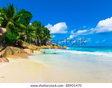 Summertime Panorama Shore - stock photo