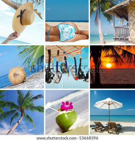 summertime theme photo collage composed of few images - stock photo