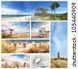 summertime theme photo collage composed of few images, baltic sea beach - stock photo
