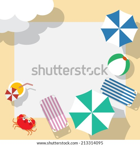 Summertime traveling template with beach summer accessories. Raster version - stock photo