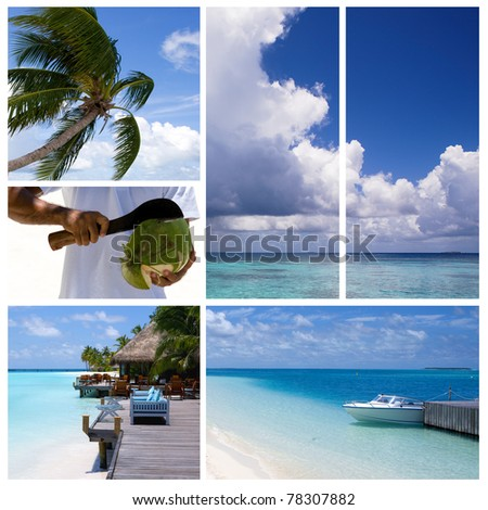 Summertime tropical island collage. - stock photo