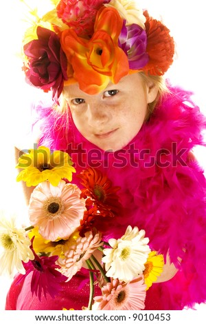 summertime with colored flowers - stock photo