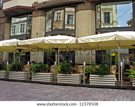 Summery cafe in old part of town (Riga, Latvia) - stock photo