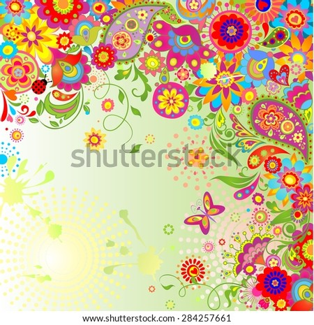 Summery card with paisley and colorful flowers - stock photo
