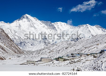 Summit and the south face of Cho Oyu (sixth highest mountain in the world) from close to Gokyo Village