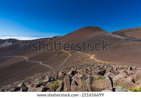 Summit area landscape in Haleakala National Park in Maui, Hawaii. - stock photo
