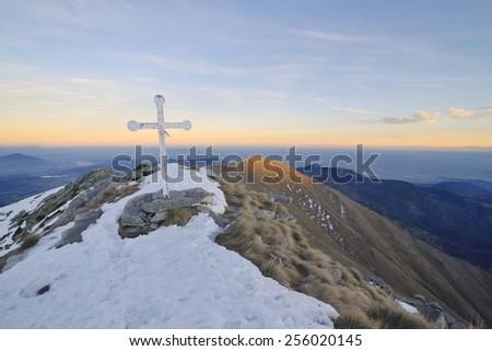 Summit cross, italian Alps - stock photo