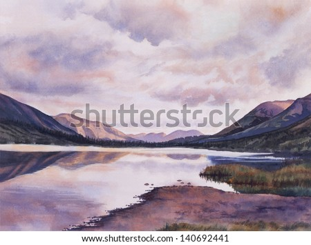 Summit Lake Evening.  Watercolor painting of clouds reflected in a lake with evening colors.