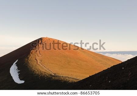 Summit of Mauna Kea with footpath - stock photo