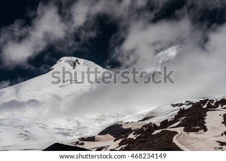Summit of mount Elbrus the highest mountain in Europe (5642m)