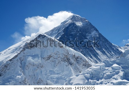 Summit of mount Everest or Sagarmatha - highest mountain in the world, view from Kala Patthar on sunny day,Nepal,Himalayas - stock photo