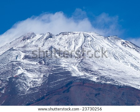 Summit of Mt. Fuji in early winter - stock photo