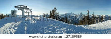 Summit of Panorama Ski Hill, Invermere, British Columbia, Canada - stock photo