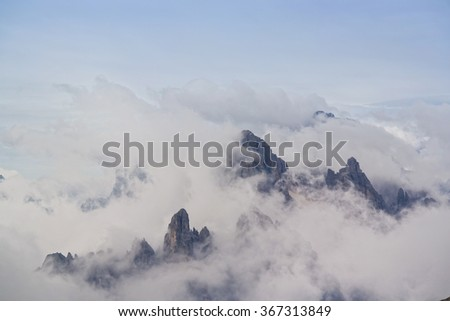 Summits of the Dolomites above the clouds
