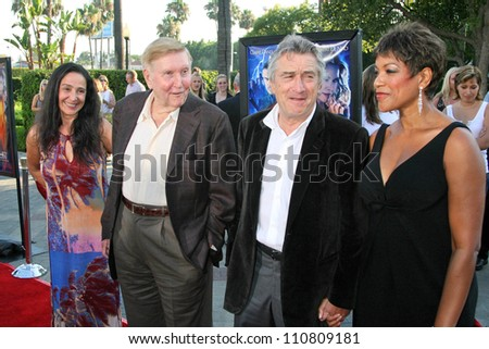 "Sumner Redstone and wife Paula with Robert De Niro and Grace Hightower at the Los Angeles Premiere of ""Stardust"". Paramount Studio Theatre, Hollywood, CA. 07-29-07 - stock photo"