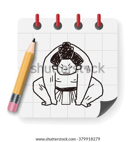 sumo doodle - stock photo