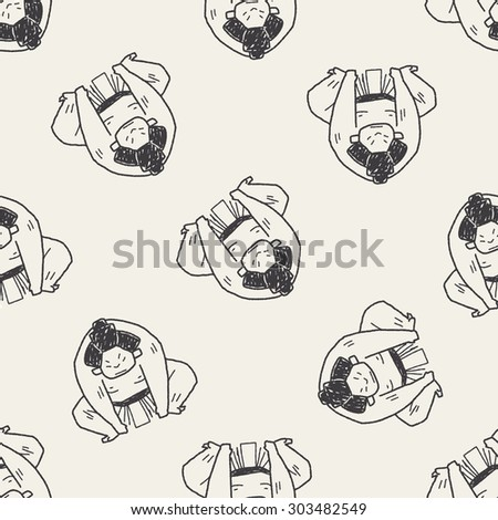 sumo doodle seamless pattern background - stock photo
