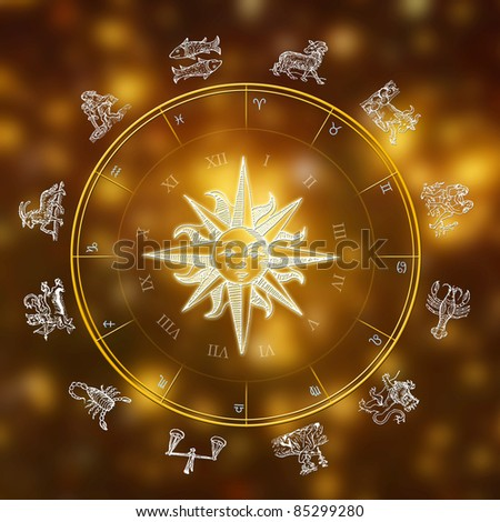 sun and astrological symbols over starry background